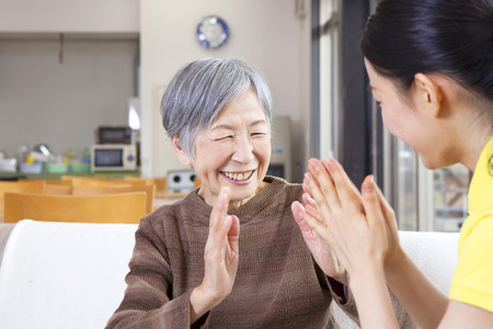 japanese people: Granny enjoying the care and recreation Stock Photo