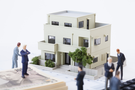 real business: Think about the real estate business figures Stock Photo