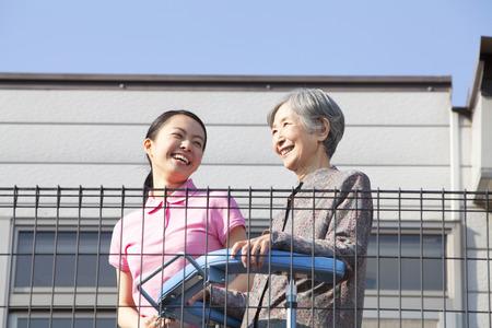 everyday jobs: Caregivers balcony overlooking and Grandma