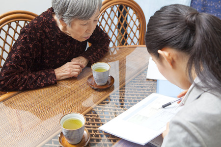 social work aged care: Senior women discuss care plans