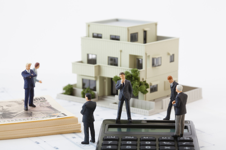 Think about the real estate business figures Stock Photo