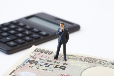 Business people think about money figures