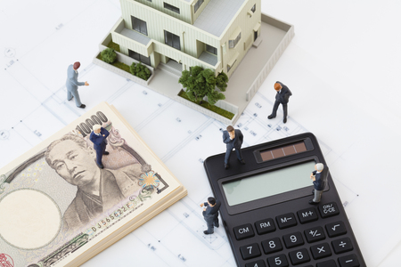 think about: Think about the real estate business figures Stock Photo