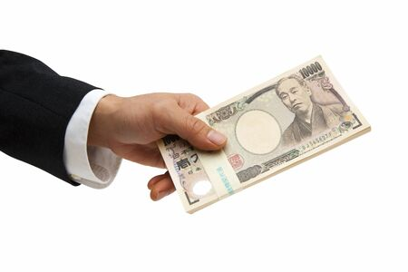hold hands: Businessman with money Stock Photo