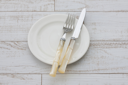 healthiness: Knife and fork Stock Photo