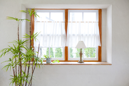 a detached living room: Bedroom bay window Stock Photo