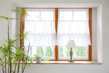 Bedroom bay window Stock Photo
