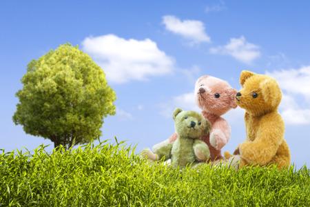 Parent-child bear overlooking the sky