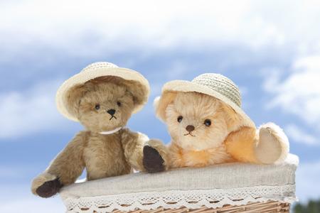 chapeau de paille: Ours en peluche portant un chapeau de paille