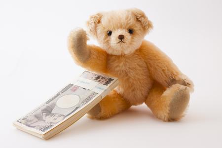 Teddy bear please 1 million yen 版權商用圖片 - 50459318