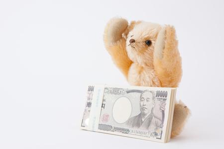 million: Teddy bear please 1 million yen Stock Photo