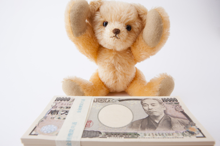 Teddy bear please 1 million yen 版權商用圖片 - 50459241