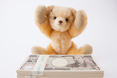 Teddy bear please 1 million yen 版權商用圖片 - 50459721