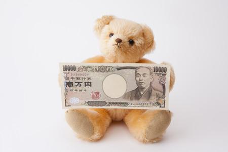 Teddy bear with 10000 Yen