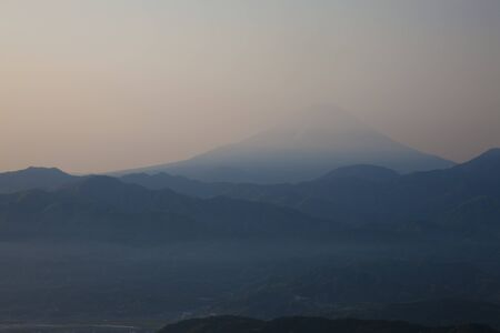 mid morning: Haze from Mt. Fuji Stock Photo