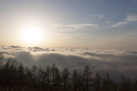 dawning: Sunrise over a sea of clouds Stock Photo