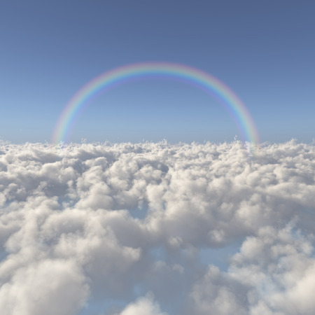 Sea of clouds and a rainbow