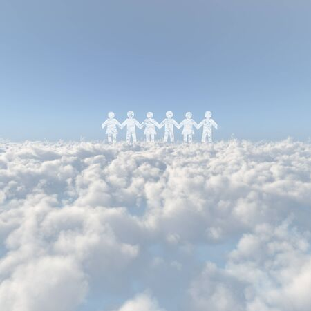 firmament: Sea of clouds and the person image Stock Photo