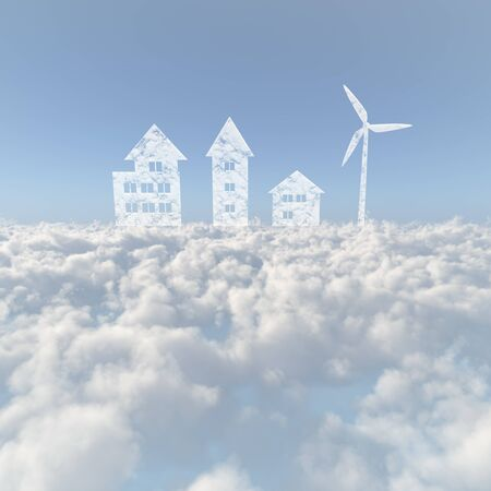 firmament: Sea of clouds and the wind turbine and housing Stock Photo