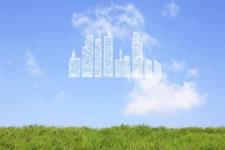 housing lot: Clouds of grassland and buildings Stock Photo
