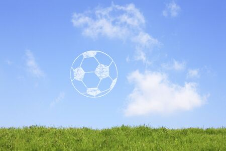 pasto sintetico: Pastizales y balón de fútbol Foto de archivo