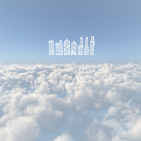 townscape: Sea of clouds and building group of clouds