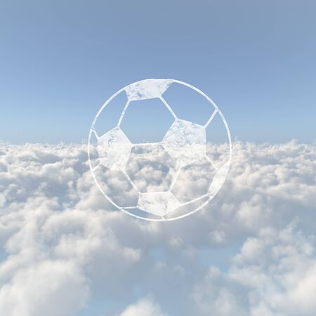 Sea of clouds and a soccer ball Stock Photo