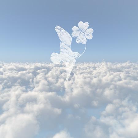 yotsuba: Sea of clouds and Yotsuba and bird Stock Photo