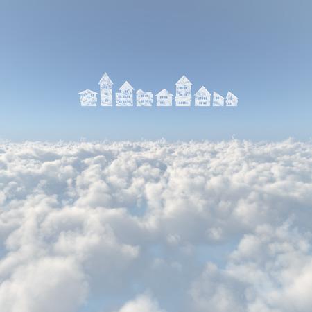 雲と雲 写真素材
