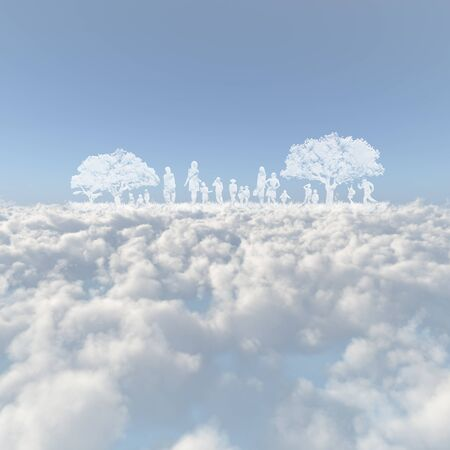 firmament: Sea of clouds and the trees and the person
