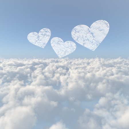 Sea of clouds and the Heart of clouds Stock Photo