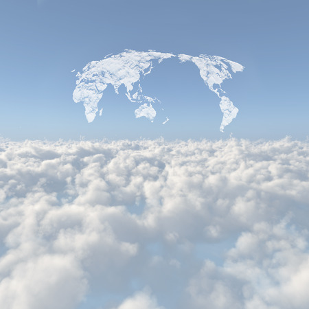 globalism: Sea of clouds and world map clouds Stock Photo