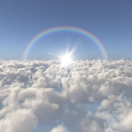 Sea of clouds and the sun and the rainbow