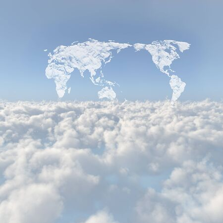 Sea of clouds and world map clouds Stock Photo