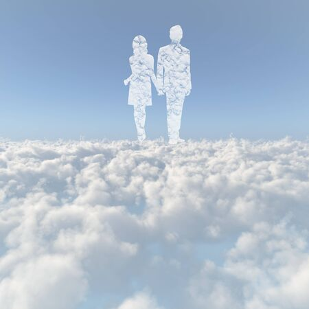Sea of clouds and the men and women of the cloud
