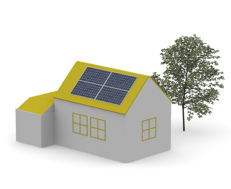 panels: House with illustrations solar panels