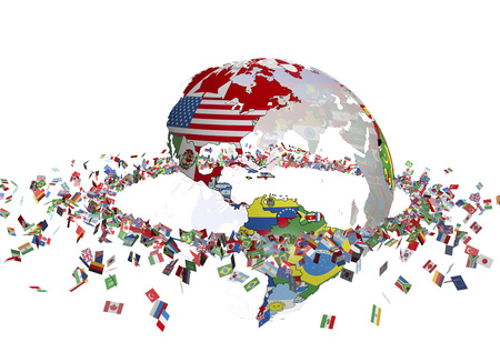 Circle of the Earth made of flags and banners Stock Photo