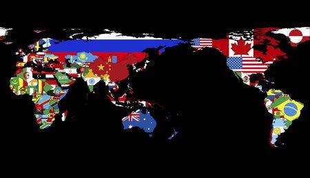 world flag: World map made of national flag Stock Photo