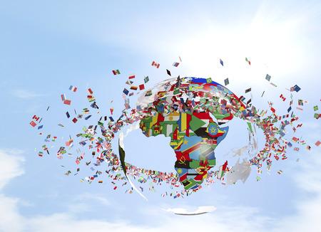 푸른 하늘이 깃발과 배너로 만들어진 지구의 원
