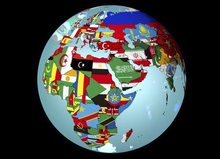 黒の背景に地球の旗