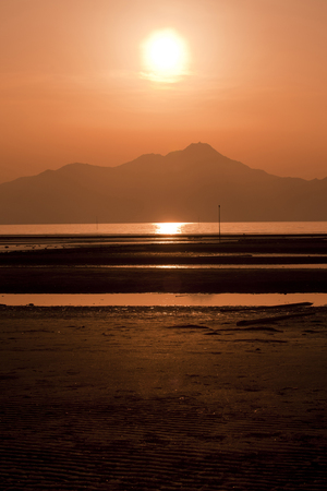 Ariake Sea and Mt. Unzen Stock Photo