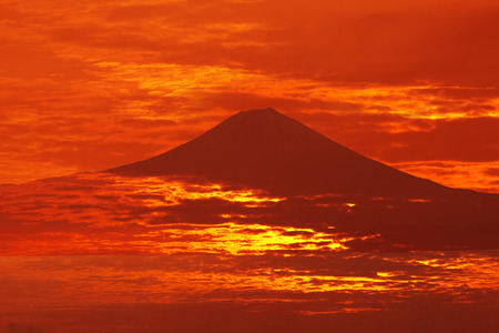 Mt. Fuji and a sea of clouds Stock Photo