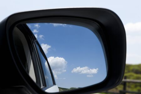 rearview: Blue sky that was reflected in the rearview mirror