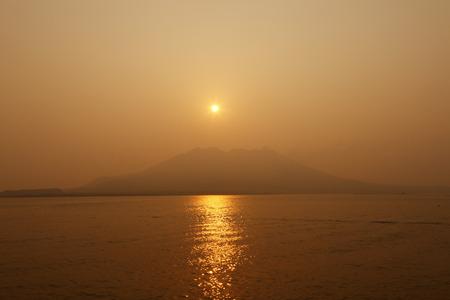 山朝から桜島