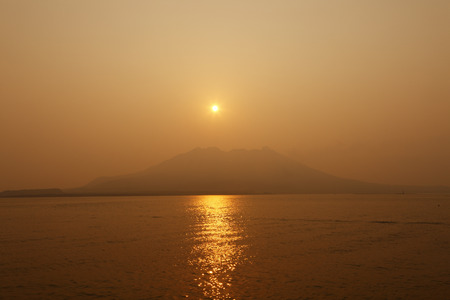 Sakurajima from the mountain morning