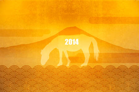 gilt: Wbyobu and Mt. Fuji and horse
