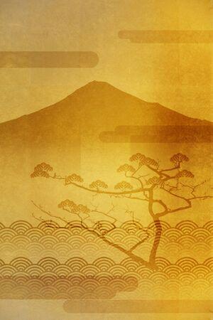 mount fuji: Pine of Mount Fuji and plumage Stock Photo