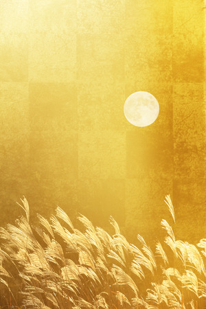 silver grass: Gold folding screen and pampas grass and the full moon Stock Photo
