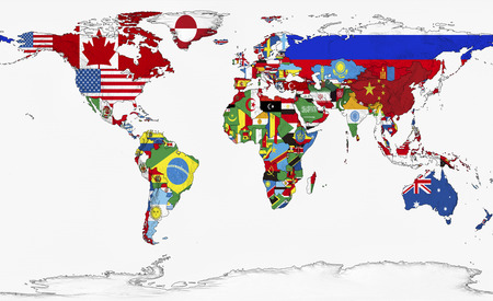World map of the three-dimensional flag Stockfoto