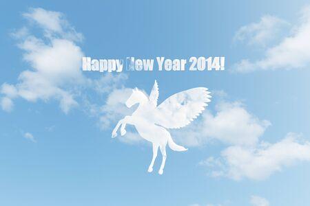 pegaso: Nube de Pegasus tarjetas Foto de archivo